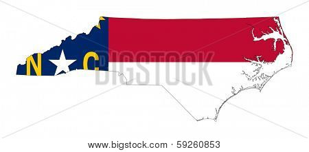 State of North Carolina flag map isolated on a white background, U.S.A.