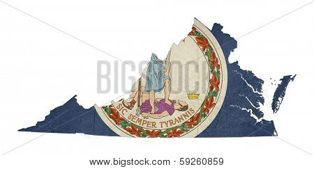 Grunge state of Virginia flag map isolated on a white background, U.S.A.