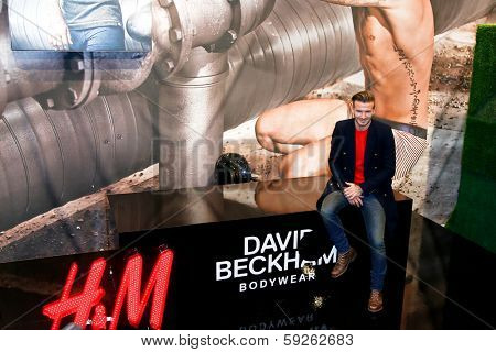 NEW YORK-FEB 1: David Beckham attends the launch of his new Bodywear range at the H&M Super Bowl Event at H&M Times Square on February 1, 2014 in New York City.
