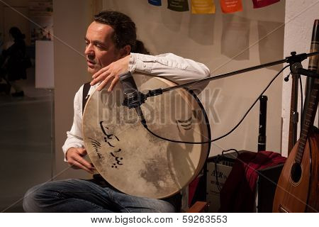 Musician Playing Pecussion Instrument At Olis Festival In Milan, Italy