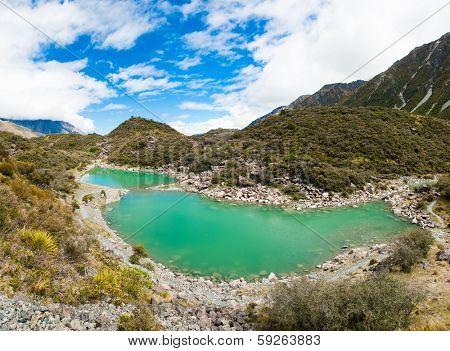 Green lake under the Mount Cook, Aoraki National Park, New Zealand. Panorama