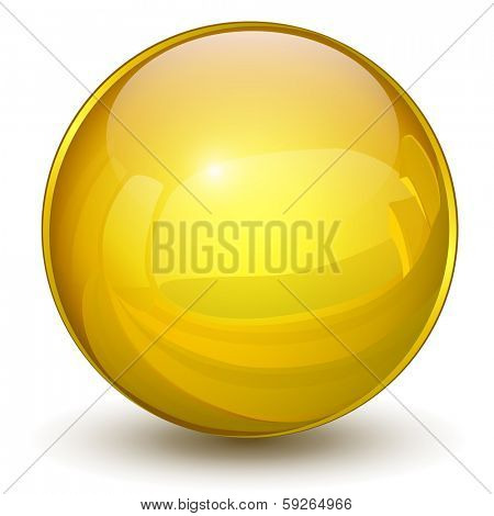 Sphere 3D, glossy gold, yellow vector ball