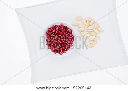 Pomegranate Seeds With Blanched Almonds