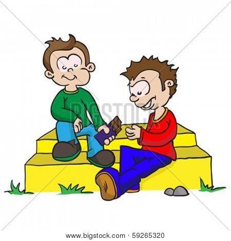 cartoon illustration of two boys sharing chocolate