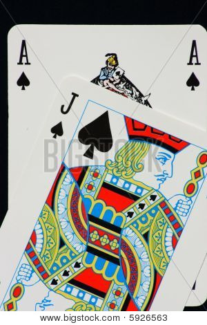 Blackjack: ace and jack of spades