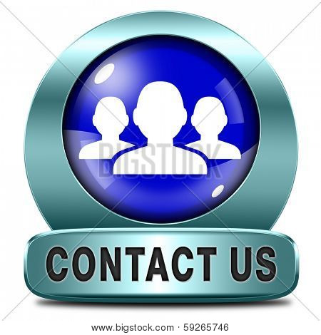 contact us here for feedback blue metal  icon or sign. Coordinates and address for customer support and extra information