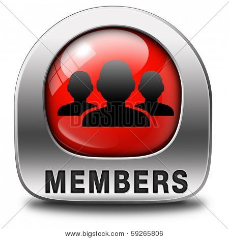 members only red icon sign or sticker become a member and join here to get your membership label.