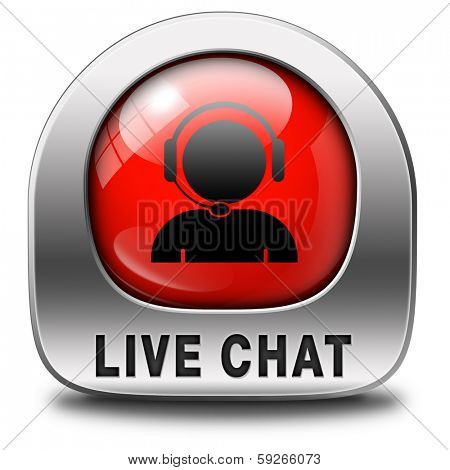 live chat red icon. Chatting online button.