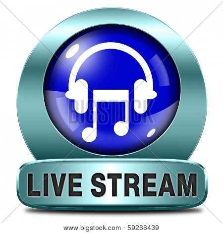 Listen live stream music song audio or radio blue button or icon