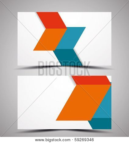 Vector business card design template - colorful geometric shapes. CMYK