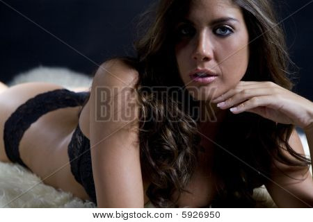 Sultry Brunette In Underwear On Sheepskin Rug
