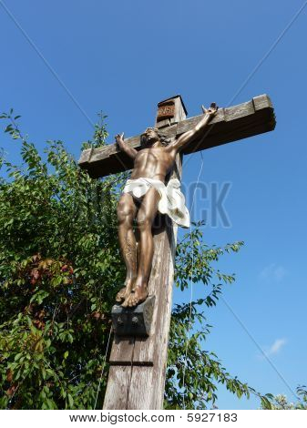 Jesus on a wood cross