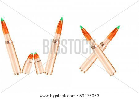 Letters of the Alphabet written out of Real Live Bullets! The Perfect image for all your Gun Toting grade schoolers who are learning to read. Isolated on white for ease of clipping out and using