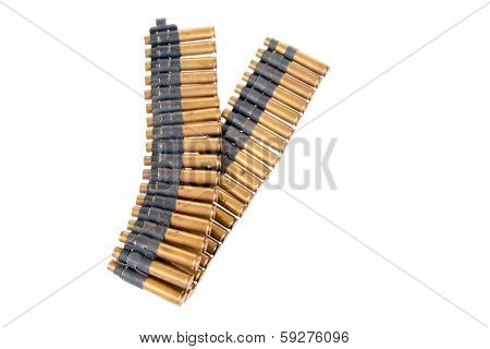 A genuine used military Machine gun ammunition belt.  isolated on white with room for your text