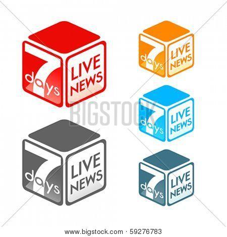 Fictional TV live news program symbol in colors