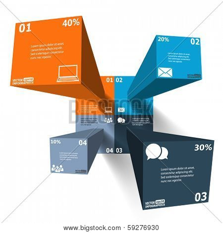 Modern 3d infographics for web, banners, mobile applications, layouts etc. Vector eps10 illustration
