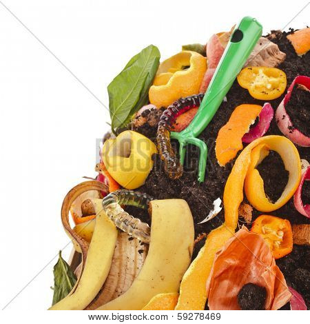 compost pile of kitchen scraps , border isolated on white background