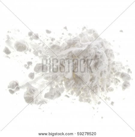 heap pile of  handful white powder isolated on white background