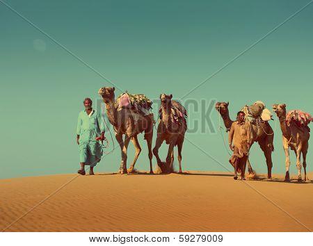 cameleers with camels caravan on sand dune in desert  - vintage retro style
