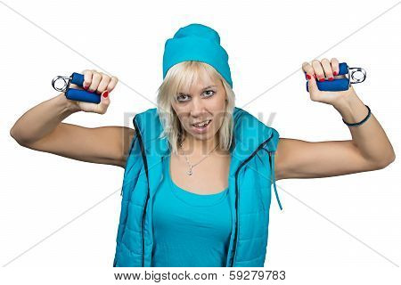 Athletic Girl Making Exercises With Expanders