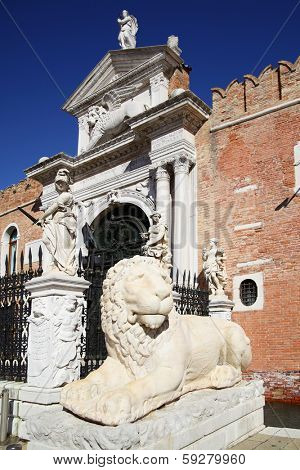 Entrance to the Venetian Arsenal, Venice, Italy