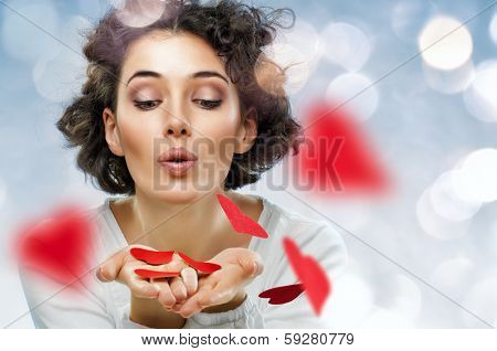 beautiful girl holding a heart