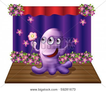 Illustration of a three-eyed purple monster at the center of the stage on a white background