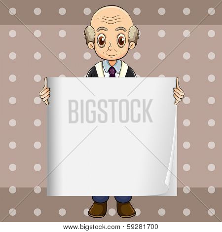 Illustration of a bald oldman holding an empty signage
