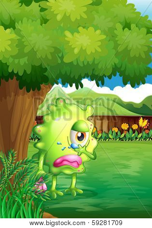 Illustration of a crying monster under the tree