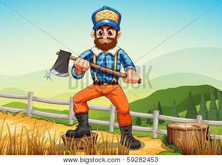Illustration of a smiling woodman holding an axe