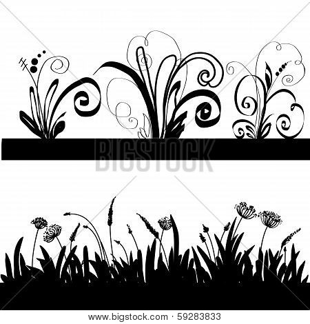Silhouette Of A Grass And Decorative Elements.