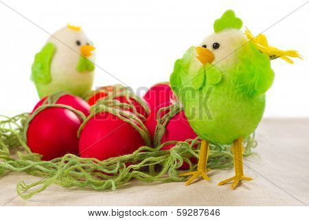 Easter red eggs with poults decorations