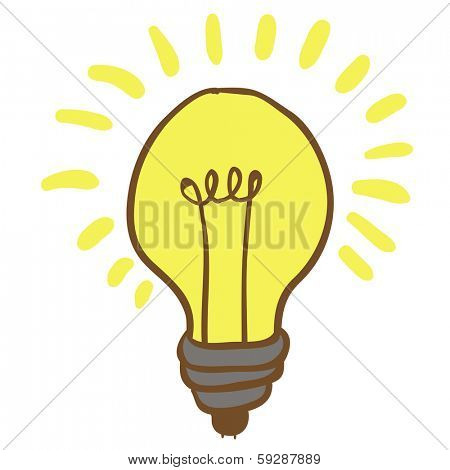 cartoon illustration of shiny hand drawn lightbulb