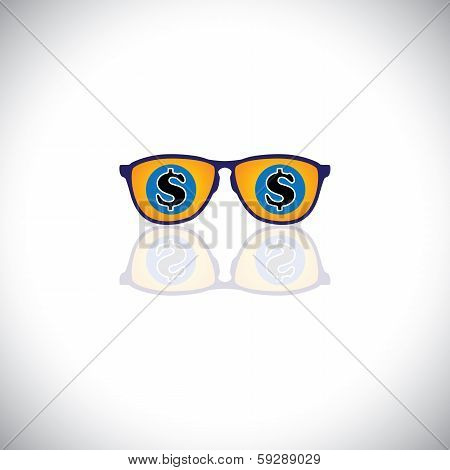 Concept Vector Of Rich Man With Sunglasses With Dollar Sign