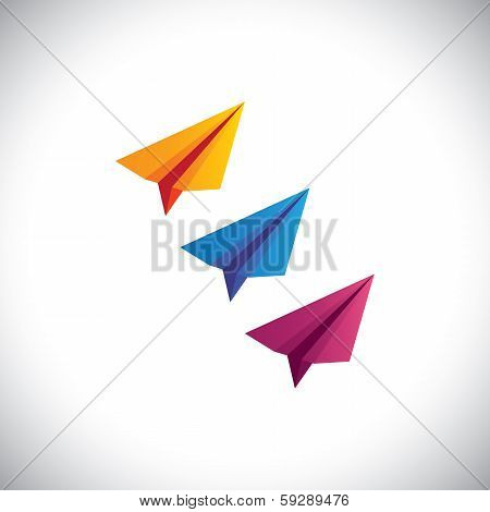 Colorful Paper Plane Vector Icons - Origami Style