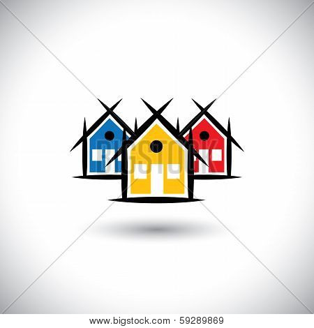Abstract Vector Of Colorful House Or Real Estate Property Icons