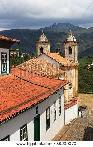 Church Igreja De Nossa Senhora Do Carmo In Ouro Preto. Vertical