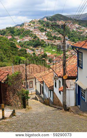 Streets Of Ouro Preto, Brazil. Vertical