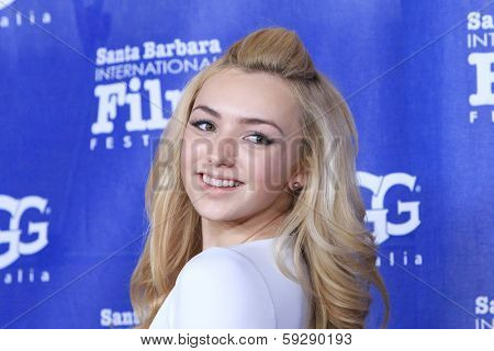 SANTA BARBARA - FEB 1: Peyton List at the Outstanding Performer Of The Year Award at the Arlington Theater at the 29th Santa Barbara International Film Festival on February 1, 2014 in Santa Barbara,CA