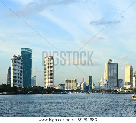 Bangkok City Along Chao Praya River,thailand