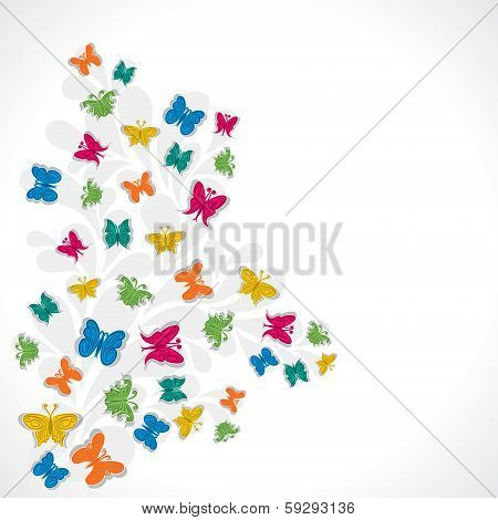 colorful butterfly label or background vector