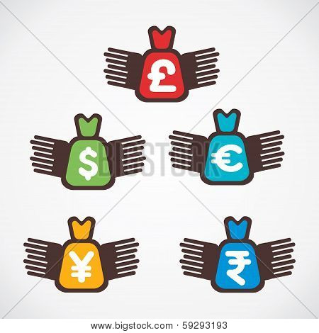 different currency bag fly symbol vector