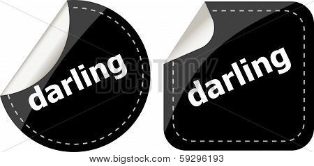 Darling Word On Black Stickers Web Button Set, Label, Icon