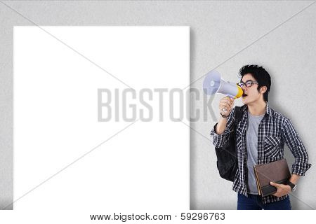 Guy With Megaphone And Blank Board
