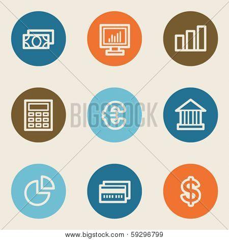 Finance web icon set 1, color circle buttons