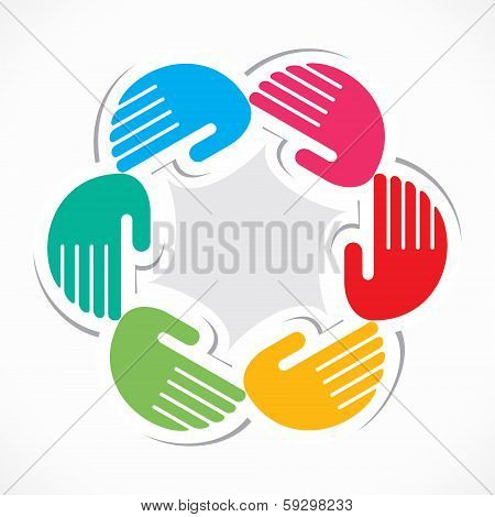 Illustration of colorful hand background stock vector