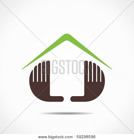 illustration of home icon design with hand stock vector