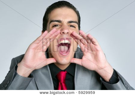Businessman Open Hands Shout To Camera