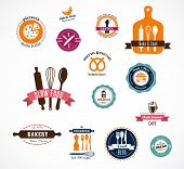 picture of pastry chef  - Collection of vintage bakery and cooffee shops badges and labels - JPG
