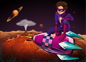image of meteorite  - Illustration of a superhero at the outerspace above a spaceship - JPG